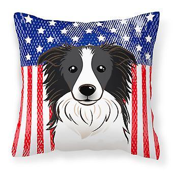 Amerikanska flaggan och Border Collie tyg dekorationskudde