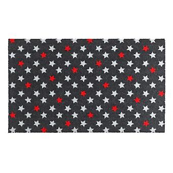 Deurmat vuil overlapping pad Starmix antraciet rood wit 50 x 70 cm