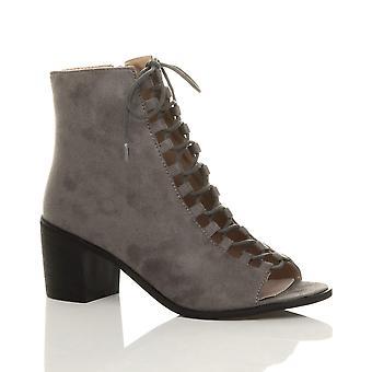 Ajvani dame blok midten af lav hæl lace op ghillie zip peep toe zip ankel støvler sko