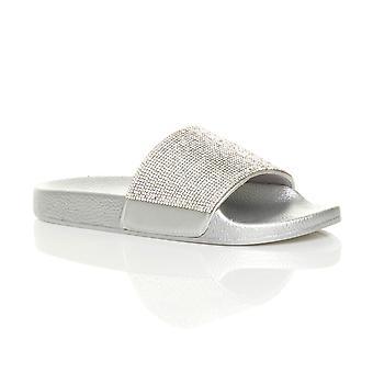 Ajvani Womens flache Slider Slip-on Diamante Maultier glitzernden Sandalen Flip flops Hausschuhe