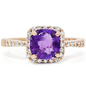 1 1 / 2ct almohadilla amatista diamante anillo 14K oro rosa
