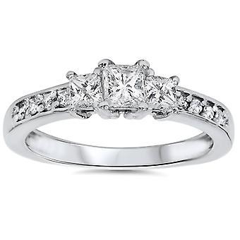 TC 1/3 princesa piedra tres corte diamante anillo solitarios 14K oro blanco