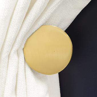 Pair of Contemporary Solid Brass Gold Curtain Tie Backs