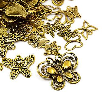 Packet 30 Grams Antique Gold Tibetan 5-40mm Butterfly Charm/Pendant Mix HA07440