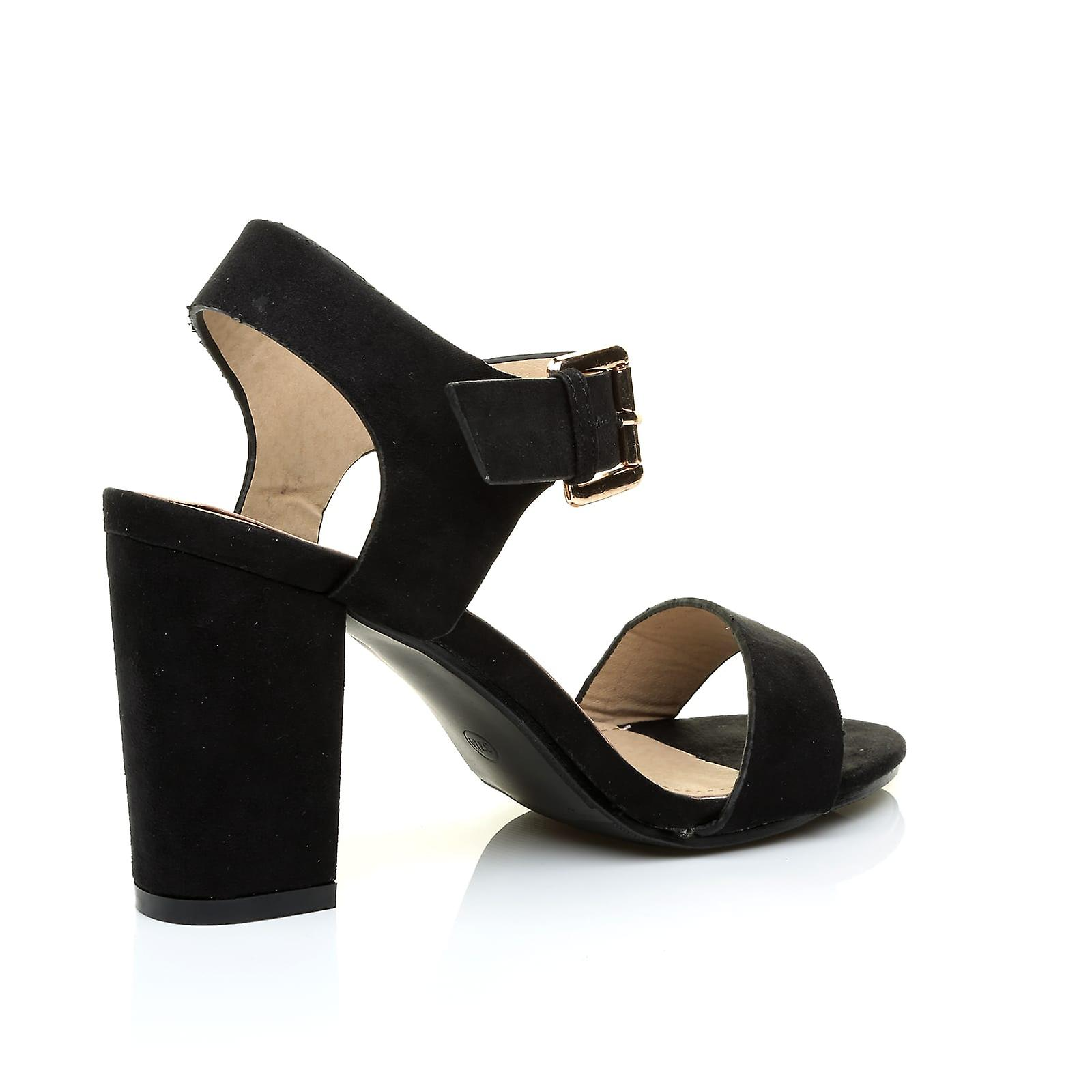 Block Faux Suede Ankle Strap CARRIE Black High Heel Party Peep Toe Sandals nfqaRA