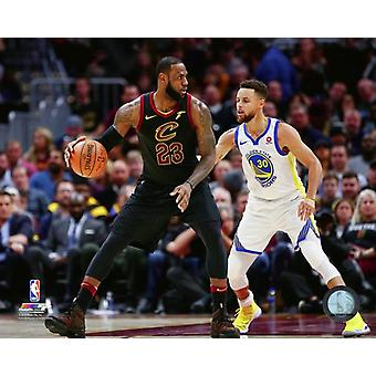 Lebron James & Stephen Curry 2017-18 Action Photo Print