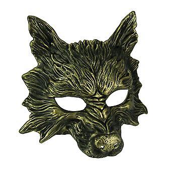 Metallisches Gold beängstigend Wolf Kostüm Maske
