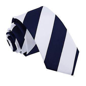 Marine & weiß gestreifte schmale Krawatte