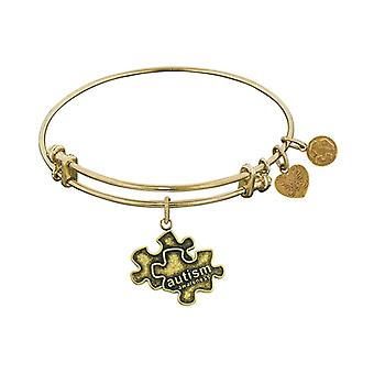 Smooth Finish Brass Generation Rescue Autism Angelica Bangle Bracelet, 7.25
