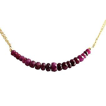 Gemshine - ladies - necklace - gold - Ruby - Red - CONFETTI - 45 cm