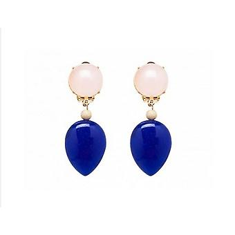 Lapis lazuli earrings - gold plated - Rose Quartz - - pink - blue - drops 3.5 cm