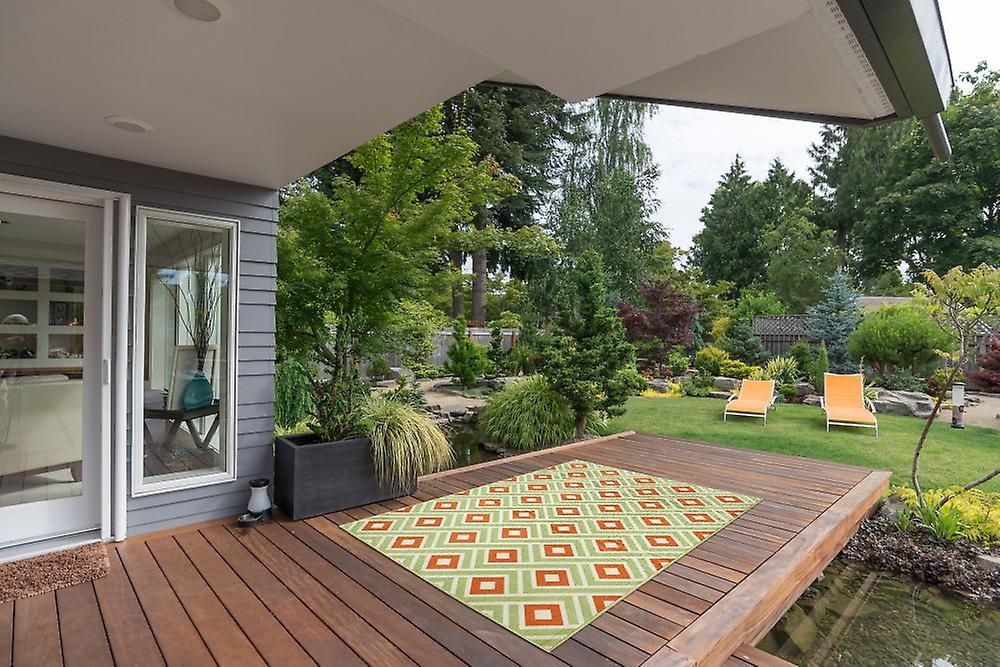 Tapijt Voor Balkon : Buiten tapijt voor terras balkon groen oranje wit vitaminic