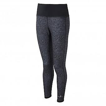 Momentum Reversible Womens Breathable Running Tights With Lycra Black/Charcoal Tracks