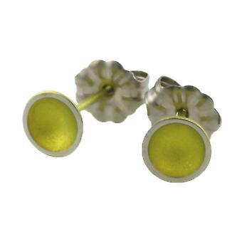 Ti2 Titanium Tiny Dome Stud Earrings - Lemon Yellow