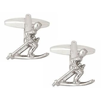 Zennor Skier Cufflinks - Silver