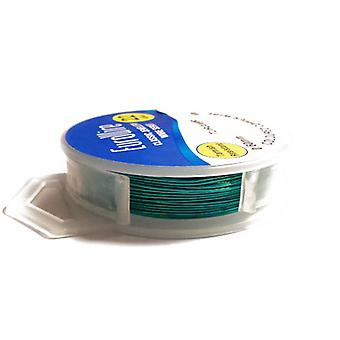 1 x Turquoise Plated Copper 0.6mm x 10m Round Craft Wire Hanging Reel X1125