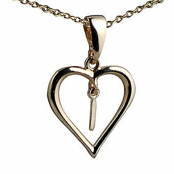 Oro 9ct 18x18mm iniziale ho in un cuore pendente con un cavo catena 20 pollici