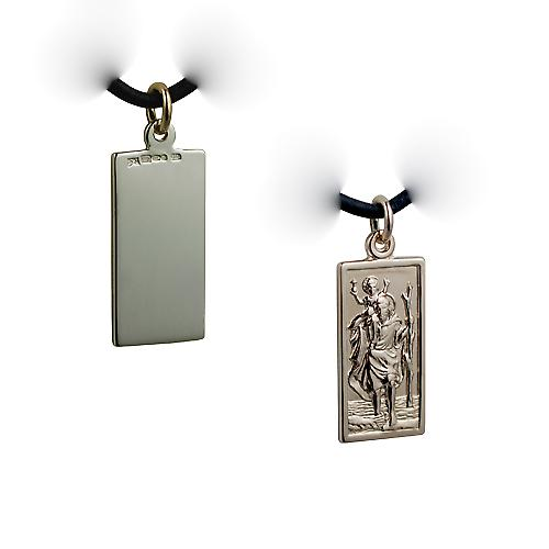 14ct yellow gold on Silver 1/20th 26x13mm rectangular St Christopher Pendant with a Leather Pendant Cord