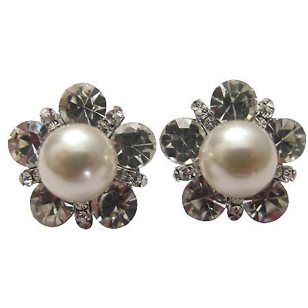 Cream Cultured Round Pearl with Cubic Zircon Pierced Stud Earrings