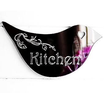 Floral Dove Acrylic Mirror Door or Wall Sign - KITCHEN