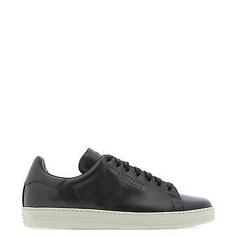 Tom Ford Grey Leather Sneakers