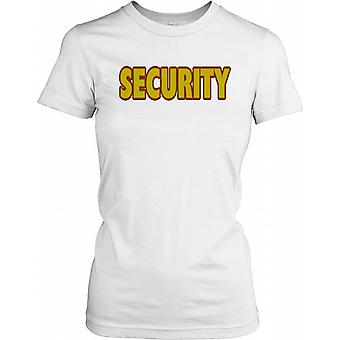 Security in Red and Yellow Text Ladies T Shirt