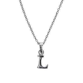 Jo For Girls Sterling Silver Initial 'L' Pendant Necklace 14