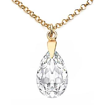 Ah! Jewellery 24K Gold Vermeil Over Sterling Silver Clear Crystals From Swarovski Pear Necklace, Stamped 925