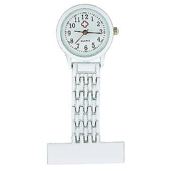 The Olivia Collection Gents-Ladies White Tone White Dial Nurse Fob Watch TOC88