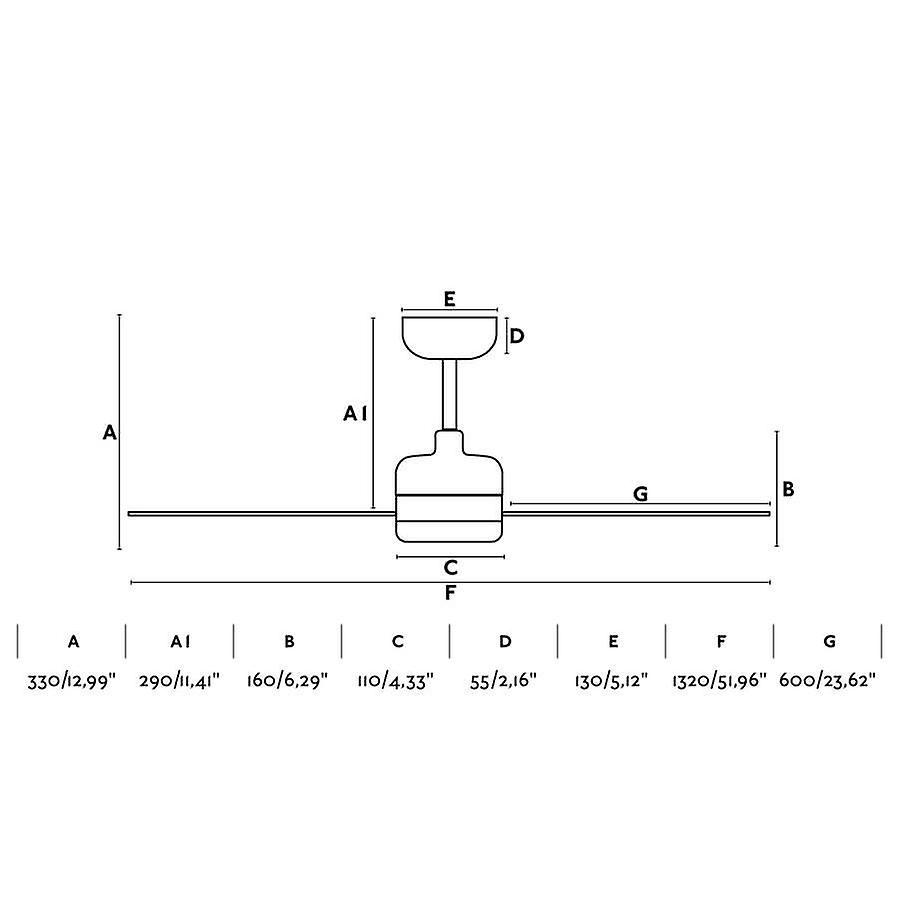 Ventilatore a soffitto a risparmio energetico NU 132cm/52