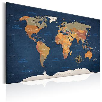 Canvas Print - World Map: Ink Oceans