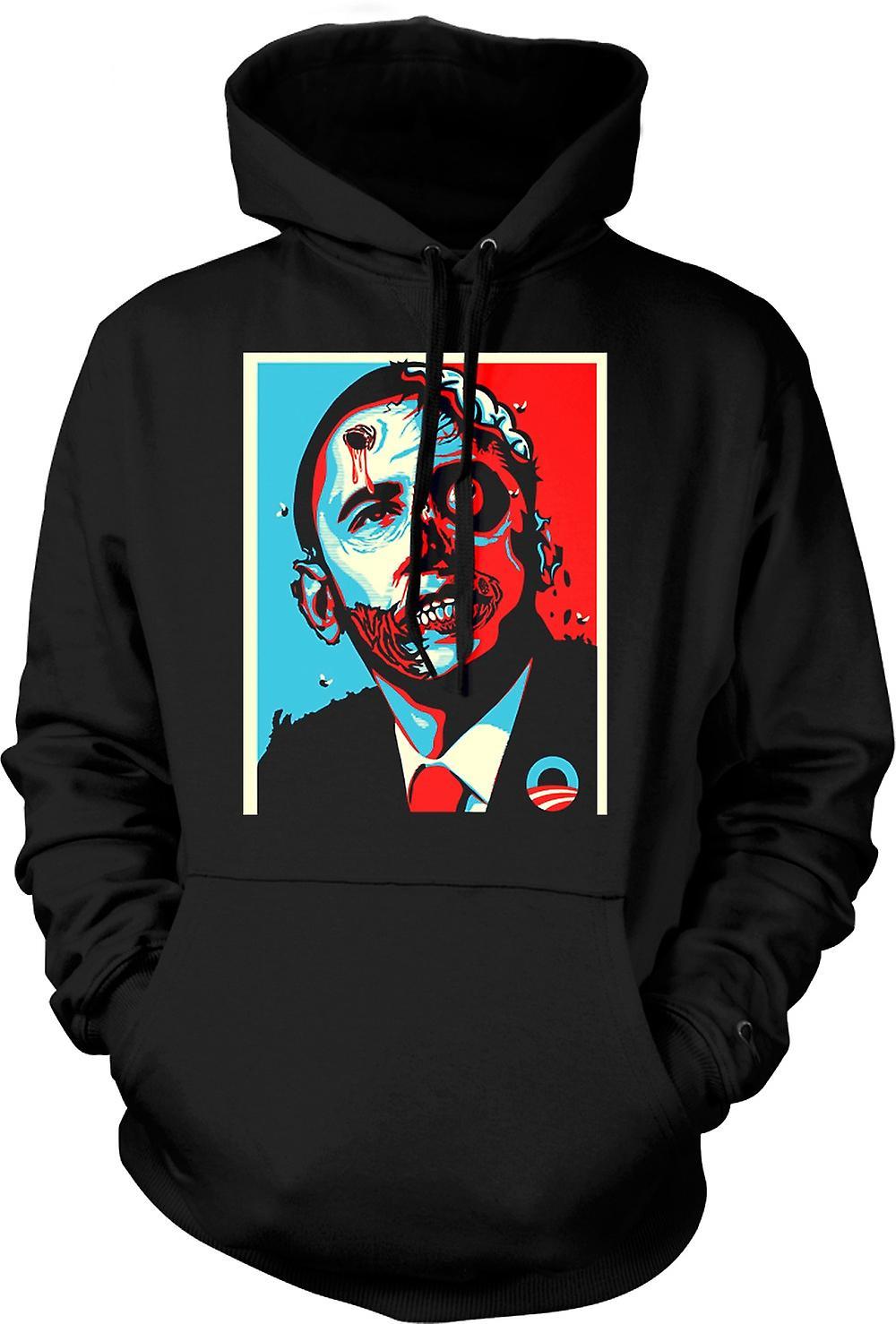 Mens Hoodie - Obama Presidente Zombie - Funny