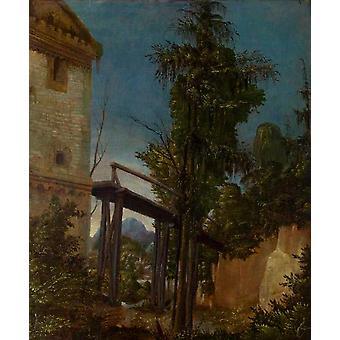 Landschap met een voetgangersbrug, Albrecht Altdorfer, 42,1 x 35,5 cm