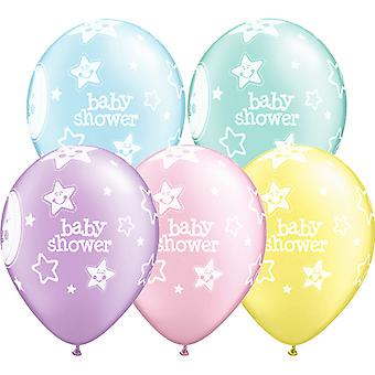 Qualatex 11 Inch Pastel Baby Shower Moons & Stars Multicoloured Balloon (Pack Of 6)