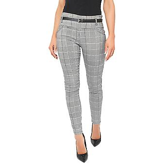 KRISP® Women Check Pencil Trousers Stretch Slim Fit Skinny Tartan Pants Suit Work