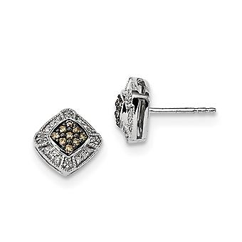 925 Sterling Silver Gift Boxed Cut-out sides Rhodium-plated Champagne Diamond Small Square Post Earrings