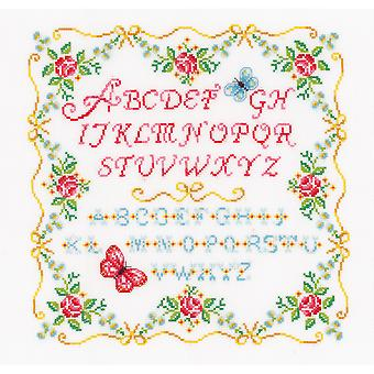 Alphabet & Roses On Aida Counted Cross Stitch Kit-13.75