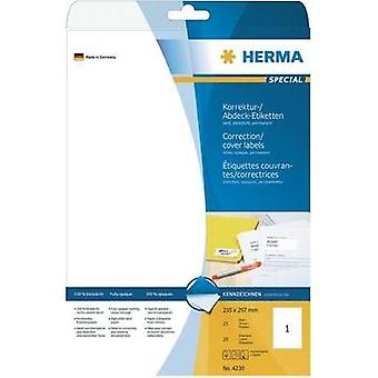 HERMA Correction/covering labels A4 210x297 mm white paper matt opaque 25 pcs. Herma 4230