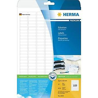 Herma 4333 Labels (A4) 25.4 x 10 mm Paper White 4725 pc(s) Permanent All-purpose labels Inkjet, Laser, Copier