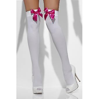 White stockings with pink bow