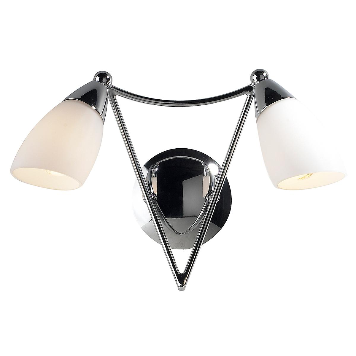 Dar BUR0950 Bureau Modern Chrome Switched Wall Light With Opal Glass
