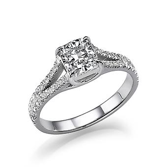 1 1/3 Carat D VS1 Diamond Engagement Ring 14k White Gold Split Shank Diamond Ring Princess Cut