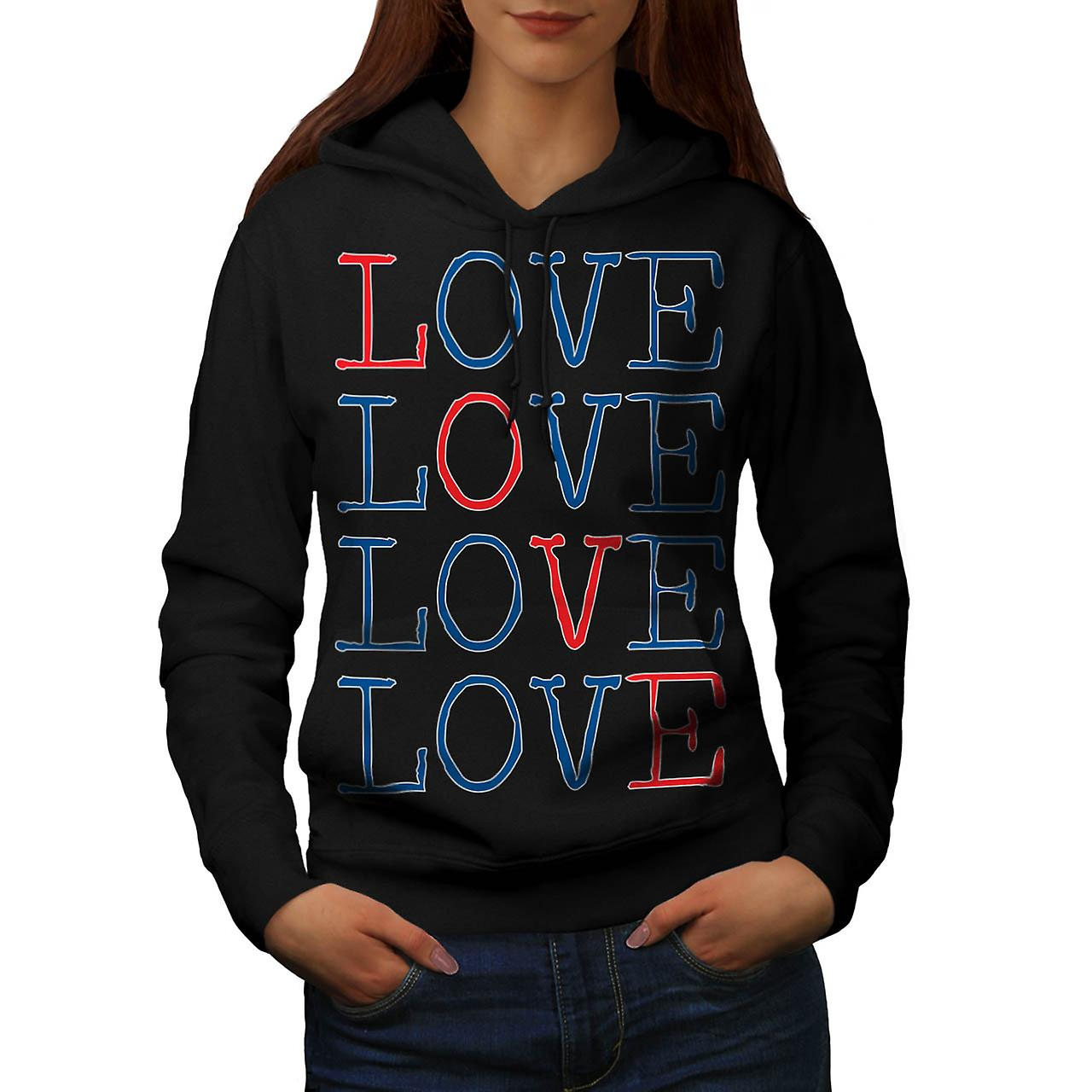 All You Need Is Love Romantic Fun Women Black Hoodie | Wellcoda