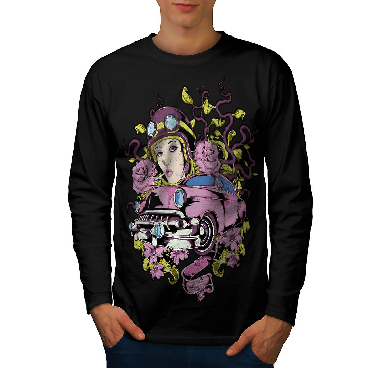 Pink Rose Vintage Car Men Black Long Sleeve T-shirt | Wellcoda