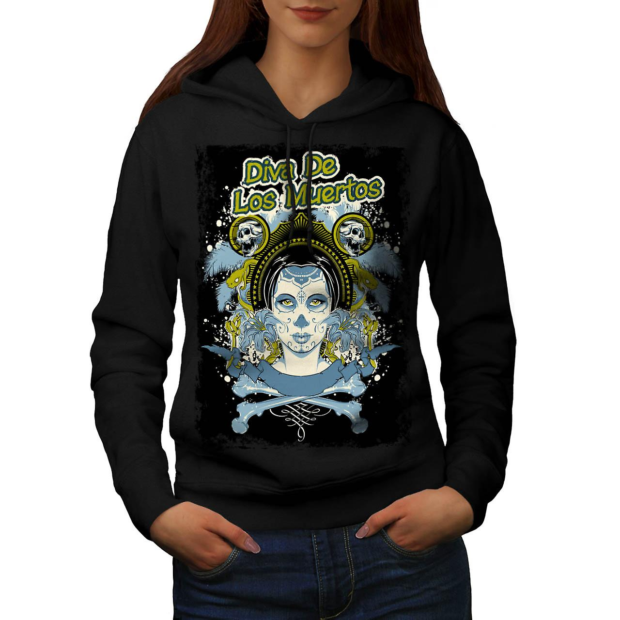 Diva Of The Dead Face Los Muerto Women Black Hoodie | Wellcoda