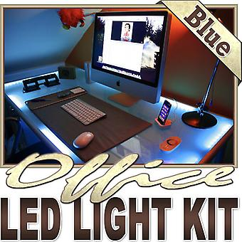 Biltek 6' ft Blue Desk Hutch Drawers Laptop LED Strip Lighting Complete Package Kit Lamp Light DIY - Under Desk Hutch Drawers Bookshelf Reading Glass Case Waterproof 3528 SMD Flexible DIY 110V-220V