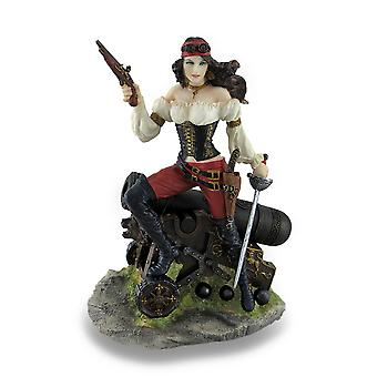 Female Pirate Standing on Cannon Holding Pistol and Cutlass Statue