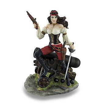 Pirata feminina em pé no canhão segurando pistola e Cutlass estátua
