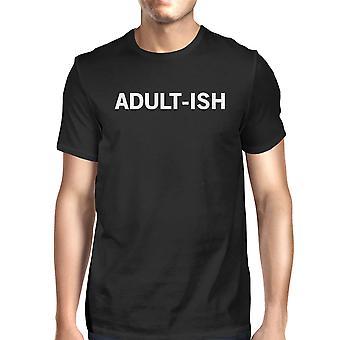 面白いグラフィック印刷ショート adult-ish メンズ ブラック シャツ長袖 t シャツ