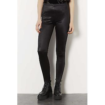 Topshop Black Pull Up Disco Leggings TRS219-6